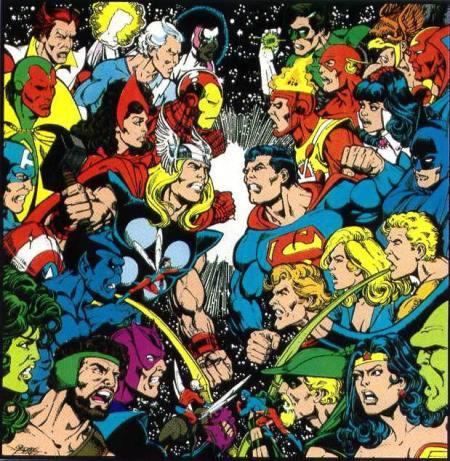 Arte promocional do encontro entre os grupos nos anos 80